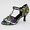 povoljno Cipele za latino plesove-Žene Plesne cipele PU Cipele za latino plesove Štikle Deblja visoka potpetica Moguće personalizirati Crna / Zelena / Silver / Black / Red-Black / Koža / Vježbanje