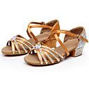 זול נעליים לטיניות-בגדי ריקוד נשים נעלי ריקוד סטן נעליים לטיניות פאייטים / אבזם / פרטים מקריסטל עקבים עקב עבה שחור / חום / כחול