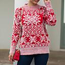 abordables Escarpins-Femme Géométrique Manches Longues Pullover, Col Arrondi Printemps / Automne Rose Claire / Bleu / Rouge S / M / L
