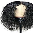 זול פיאות תחרה משיער אנושי-שיער ראמי חזית תחרה פאה חלק אמצעי בסגנון שיער ברזיאלי Kinky Curly שחור פאה 130% צפיפות שיער שחור בגדי ריקוד נשים אורך בינוני פיאות תחרה משיער אנושי beikashang