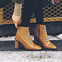 cheap Women's Boots-Women's Boots Chunky Heel Square Toe Rivet Faux Leather Knee High Boots Casual / British Spring & Summer / Fall & Winter Black / Brown / Color Block
