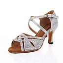 hesapli Latin Dans Ayakkabıları-Kadın's Saten Latin Dans Ayakkabıları Kristal Detaylar Topuklular İnce Topuk Kişiselleştirilmiş Siyah / Gümüş