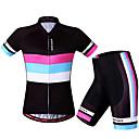זול סטים של חולצות ומכנסיים\שורטים לרכיבת אופניים-WOSAWE בגדי ריקוד נשים שרוולים קצרים חולצת ג'רסי ומכנס קצר לרכיבה שחור / אדום אופניים מכנסיים קצרים ג'רזי שורטים (מכנסיים קצרים) מרופדים נושם 3D לוח ייבוש מהיר עיצוב אנטומי רצועות מחזירי אור ספורט