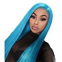 Недорогие Парик из искусственных волос на кружевной основе-Синтетические кружевные передние парики Прямой Стиль Средняя часть Лента спереди Парик Синий Светло-синий Искусственные волосы 18-26 дюймовый Жен. Регулируется / Жаропрочная / Для вечеринок Синий