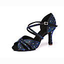hesapli Latin Dans Ayakkabıları-Kadın's Saten Latin Dans Ayakkabıları Topuklular Kıvrımlı Topuk Siyah / Mavi