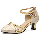billiga Ballroom-skor och dansskor för modern dans-Dam Dansskor Läder Moderna skor Högklackade Utsvängd klack Guld / Silver / Träning