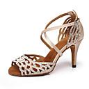 hesapli Latin Dans Ayakkabıları-Kadın's Saten Latin Dans Ayakkabıları Topuklular İnce Topuk Pembe ve Beyaz