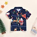 povoljno Majice za Za dječake bebe-Dijete Dječaci Aktivan / Osnovni Djed Mraz Print Kratkih rukava Majica Plava
