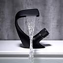 זול ברזים למטבח-חדר רחצה כיור ברז - מפל מים כרום / שחור סט מרכזי חור ידית אחת אחתBath Taps