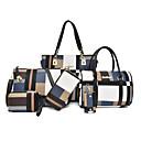 povoljno Komplet torbi-Žene Uzorak / print / Patent-zatvarač Platno Bag Setovi Color block 6 kom Crn / Braon / Plava