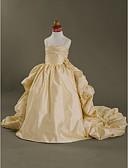 cheap Flower Girl Dresses-Ball Gown Court Train Flower Girl Dress - Taffeta Sleeveless Spaghetti Strap with Flower / Pleats by LAN TING BRIDE® / Spring / Summer / Fall / Winter / Wedding Party