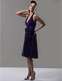 cheap Bridesmaid Dresses-A-Line V Neck / Halter Neck Knee Length Chiffon Bridesmaid Dress with Bow(s) / Sash / Ribbon by LAN TING BRIDE®