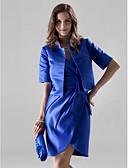 Χαμηλού Κόστους Βραδινά Φορέματα-Ίσια Γραμμή Λαιμόκοψη V Κοντό / Μίνι Σατέν Φόρεμα Παρανύμφων με Χάντρες / Φιόγκος(οι) / Πλαϊνό ντραπέ με LAN TING BRIDE® / Εσάρπα περιλαμβάνεται