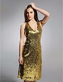 baratos Vestidos de Coquetel-Tubinho Decote V Até os Joelhos Paetês Brilho & Glitter Coquetel Vestido com Pregas de TS Couture®