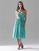 cheap Bridesmaid Dresses-A-Line / Ball Gown One Shoulder Knee Length Chiffon Bridesmaid Dress with Ruched / Pleats by LAN TING BRIDE®