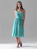 hesapli Nedime Elbiseleri-A-Şekilli Prenses Tek Omuz Diz Boyu Şifon Pileler Kırma Dantel ile Nedime Elbisesi tarafından LAN TING BRIDE®