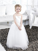 cheap Junior Bridesmaid Dresses-Ball Gown Floor Length Flower Girl Dress - Satin / Tulle Sleeveless Spaghetti Strap with Draping / Sash / Ribbon / Ruffles by LAN TING BRIDE® / Spring / Summer / Fall / Winter / First Communion