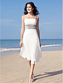 billiga Brudklänningar-Åtsmitande Fyrkantig hals Telång Chiffong Bröllopsklänningar tillverkade med Paljett av LAN TING BRIDE® / Liten vit klänning