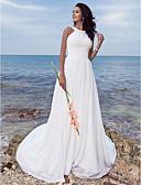 Χαμηλού Κόστους Νυφικά-Γραμμή Α Με Κόσμημα Ουρά Σιφόν Φορέματα γάμου φτιαγμένα στο μέτρο με Που καλύπτει / Πιασίματα με LAN TING BRIDE® / Παραλία / Προορισμός
