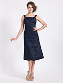 cheap Mother of the Bride Dresses-A-Line / Ball Gown Square Neck Tea Length Taffeta Bridesmaid Dress with Side Draping by LAN TING BRIDE®
