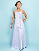Χαμηλού Κόστους Φορέματα για παρανυφάκια-Γραμμή Α / Πριγκίπισσα Λεπτές Τιράντες Μακρύ Σατέν Φόρεμα Νεαρών Παρανύμφων με Χάντρες / Με Άνοιγμα Μπροστά με LAN TING BRIDE® / Άνοιξη / Φθινόπωρο / Χειμώνας / Μήλο / Κλεψύδρα