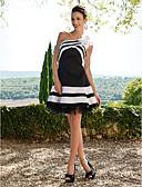 hesapli Balo Elbiseleri-A-Şekilli Tek Omuz Kısa / Mini Saten Fırfırlı / Çiçekli ile Kokteyl Partisi / Mezunlar Günü / Tatlı 16 Yaş Elbise tarafından TS Couture®