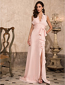 cheap Evening Dresses-Sheath / Column Plunging Neck Sweep / Brush Train Chiffon Open Back Prom / Formal Evening Dress with Bow(s) / Draping / Split Front by TS Couture®