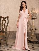 Χαμηλού Κόστους Φορέματα κοκτέιλ-Ίσια Γραμμή Βυθίζοντας το λαιμό Ουρά Σιφόν Ανοικτή Πλάτη Χοροεσπερίδα / Επίσημο Βραδινό Φόρεμα με Φιόγκος(οι) / Που καλύπτει / Με Άνοιγμα Μπροστά με TS Couture®