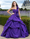 cheap Junior Bridesmaid Dresses-Ball Gown One Shoulder Court Train Taffeta Formal Evening Dress with Appliques / Pick Up Skirt by TS Couture®