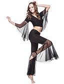 Χαμηλού Κόστους Ρούχα χορού της κοιλιάς-Χορός της κοιλιάς Σύνολα Γυναικεία Εκπαίδευση Διαφανές βαμβάκι 3/4 Μήκος Μανικιού Χαμηλή Μέση