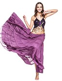 hesapli Göbek Dansı Giysileri-Göbek Dansı Etek Kadın's Performans Keten Fırfırlı Düşük Etek