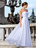 baratos Vestidos de Casamento-Tubinho Decote Princesa Longo Chiffon Vestidos de casamento feitos à medida com Miçangas / Faixa / Fita / Franzido de LAN TING BRIDE®