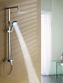 Χαμηλού Κόστους Φορέματα ειδικών περιστάσεων-Βρύση Ντουζιέρας - Σύγχρονο Χρώμιο Σύστημα Ντουζ Κεραμική Βαλβίδα Bath Shower Mixer Taps / LED / Περιλαμβάνεται Τηλέφωνο Ντουζιέρας / Ορείχαλκος / Ροή Νερού / Ορείχαλκος
