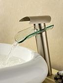 hesapli Özel Davet Elbiseleri-Banyo Lavabo Bataryası - Şelale Fırçalanmış Nikel Lavabo Teknesi Tek Delik / Tek Kolu Bir Delik / Pirinç