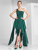 preiswerte Cocktailkleider-A-Linie Ein-Schulter Asymmetrisch Chiffon High Low Cocktailparty / Abiball Kleid mit Perlenstickerei / Gerafft durch TS Couture®