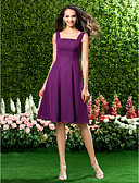 Χαμηλού Κόστους Φορέματα Παρανύμφων-Γραμμή Α Λουριά Μέχρι το γόνατο Σιφόν Φόρεμα Παρανύμφων με Που καλύπτει με LAN TING BRIDE® / Ανοικτή Πλάτη