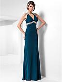 Χαμηλού Κόστους Βραδινά Φορέματα-Ίσια Γραμμή Δένει στο Λαιμό Μακρύ Σιφόν Όμορφη Πλάτη Επίσημο Βραδινό Φόρεμα με Χάντρες / Διακοσμητικά Επιράμματα / Που καλύπτει με TS Couture®