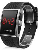 baratos Relógios da Moda-Homens Relógio de Pulso Digital Calendário LED Borracha Banda Digital Amuleto Preta - Branco Preto