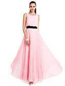 hesapli Özel Davet Elbiseleri-A-Şekilli / Prenses Taşlı Yaka Yere Kadar Şifon Kristal Detaylar / Kurdeleler / Pileler ile Balo / Resmi Akşam / Düğün Partisi Elbise tarafından TS Couture®