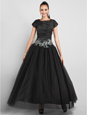 cheap Men's Ties & Bow Ties-Ball Gown / Princess Jewel Neck Ankle Length Taffeta / Tulle Little Black Dress Prom / Formal Evening Dress with Appliques / Side Draping by TS Couture®
