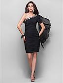 Χαμηλού Κόστους Φορέματα κοκτέιλ-Ίσια Γραμμή Ένας Ώμος Μέχρι το γόνατο Σιφόν Μικρό Μαύρο Φόρεμα Κοκτέιλ Πάρτι Φόρεμα με Κρυστάλλινη λεπτομέρεια / Χιαστί με TS Couture®
