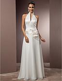 cheap Wedding Dresses-Sheath / Column Halter Neck Floor Length Chiffon / Satin Made-To-Measure Wedding Dresses with Sash / Ribbon by LAN TING BRIDE®