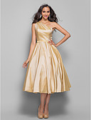 cheap Prom Dresses-A-Line One Shoulder Tea Length Taffeta Cocktail Party Dress with Sash / Ribbon by TS Couture®