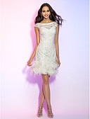 preiswerte Cocktailkleider-Eng anliegend Illusionsausschnitt Kurz / Mini Überall Spitze Cocktailparty Kleid mit Federn / Pelzl durch TS Couture®