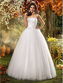 cheap Wedding Dresses-A-Line / Princess Strapless Floor Length Tulle Made-To-Measure Wedding Dresses with Beading / Flower / Side-Draped by LAN TING BRIDE®