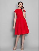 hesapli Print Dresses-A-Şekilli / Belden Oturan Taşlı Yaka Diz Boyu Şifon Çiçekli ile Kokteyl Partisi / Balo Elbise tarafından TS Couture® / Açık Sırtlı / anahtar deliği