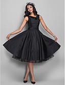 cheap Prom Dresses-Ball Gown Cowl Neck Knee Length Taffeta Little Black Dress / Vintage Inspired Cocktail Party Dress with Crystal Brooch / Pleats by TS Couture®