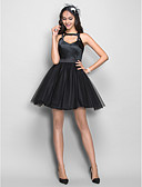 cheap Prom Dresses-Princess Y Neck Short / Mini Tulle / Stretch Satin Little Black Dress / Keyhole Cocktail Party Dress with Pleats by TS Couture®