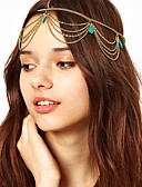 baratos Headpieces Femininos-Mulheres Bandana / Decoração de Cabelo / Borla Liga Estilo Clássico / Bandanas / Festa / Bandanas / Dourado