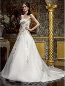 Χαμηλού Κόστους Νυφικά-Γραμμή Α Καρδιά Ουρά μέτριου μήκους Σιφόν Φορέματα γάμου φτιαγμένα στο μέτρο με Χάντρες / Κέντημα / Κρυστάλλινη Λουλουδάτη Καρφίτσα με LAN TING BRIDE® / Νυφικά Με Χρώμα / Λάμψη & Στυλ